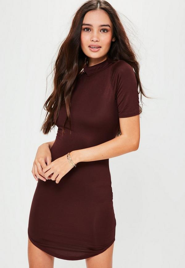 Burgundy Short Sleeve Curve Hem Bodycon Dress