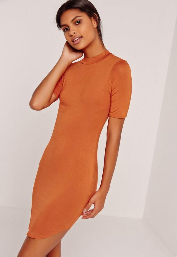 Short Sleeve Curve Hem Bodycon Dress Orange
