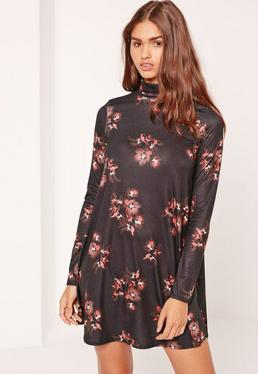 Roll Neck Long Sleeve Jersey Swing Dress Floral Brown