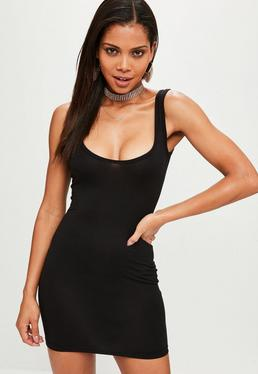 Square Neck Bodycon Mini Dress Black