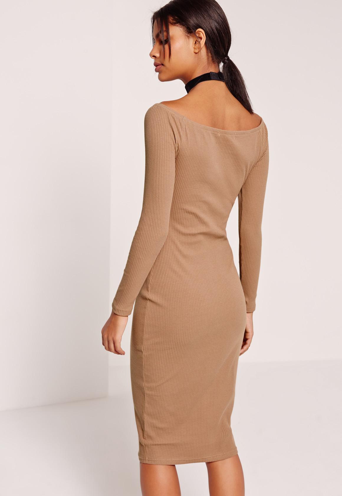 Long Sleeve Bardot Rib Midi Dress Tan