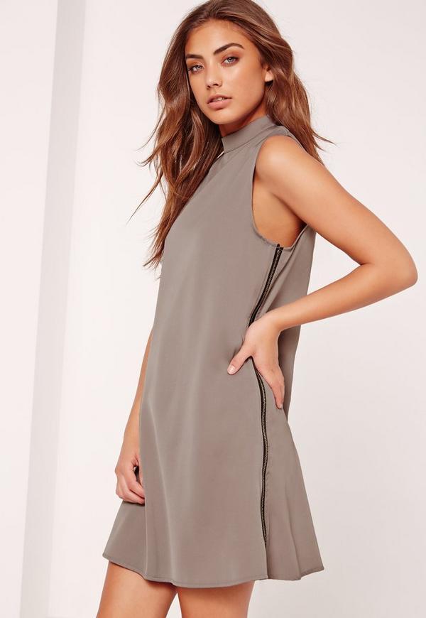 Zip Side High Neck Shift Dress Grey