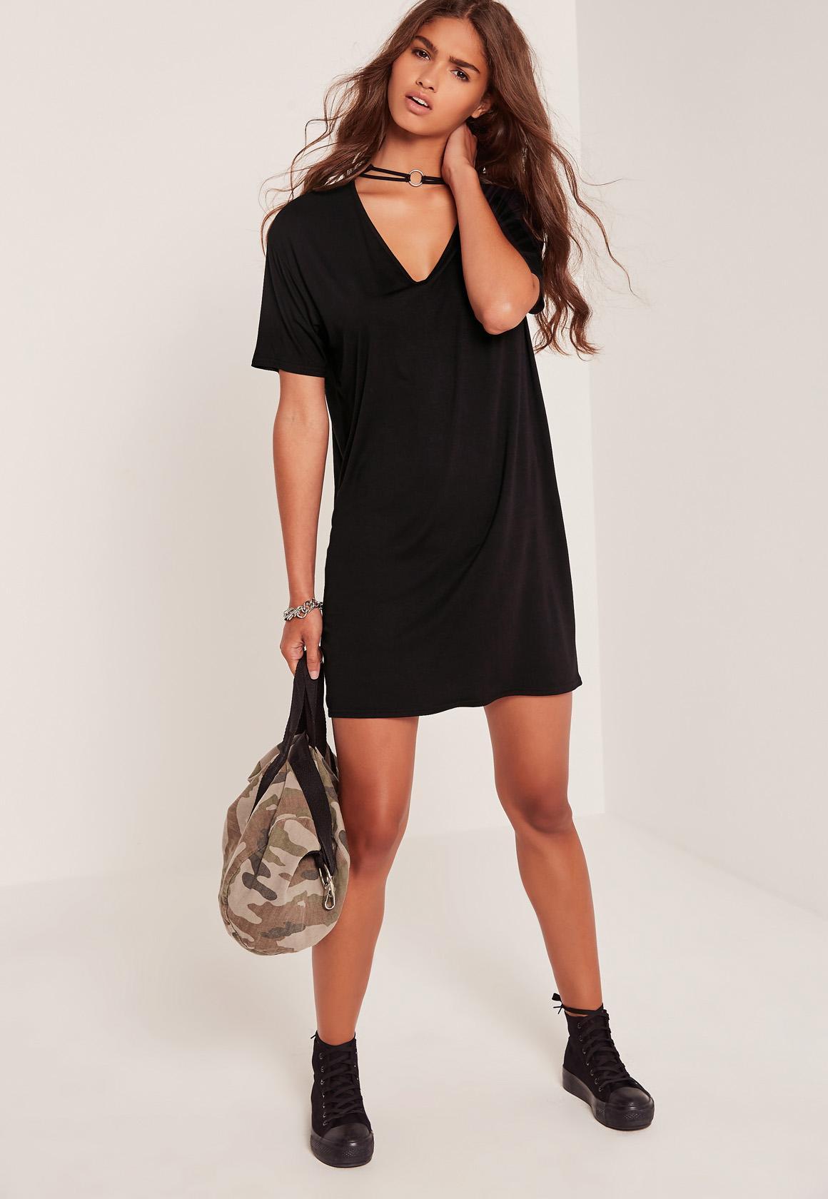 Choker Neck T Shirt Dress Black