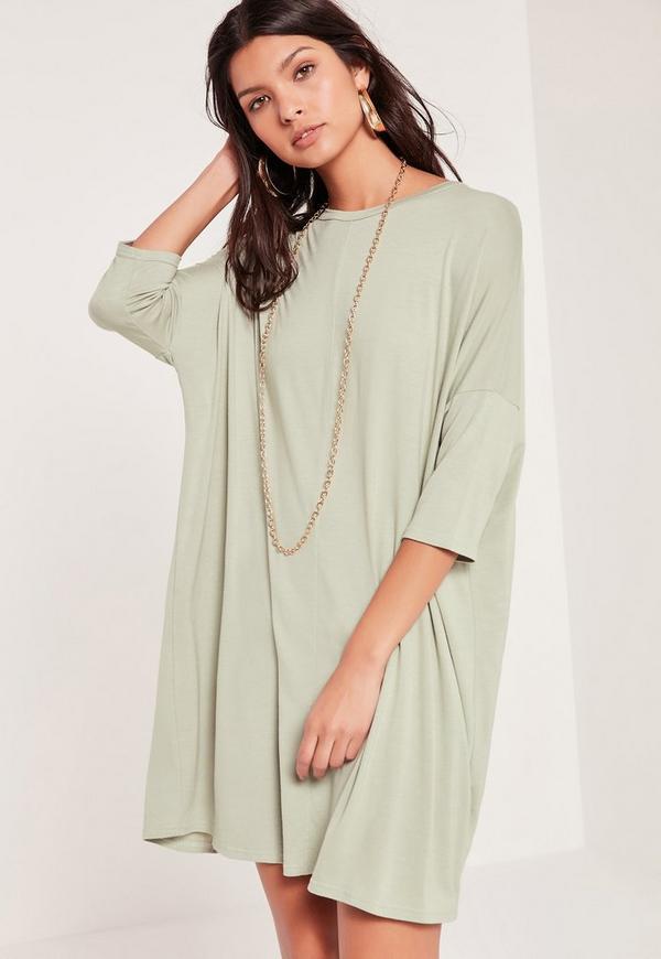 Oversized Raglan T Shirt Dress Green