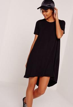 Drop Back Swing Dress Black