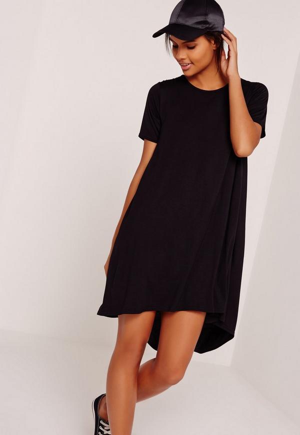 Drop Back Swing Dress Black
