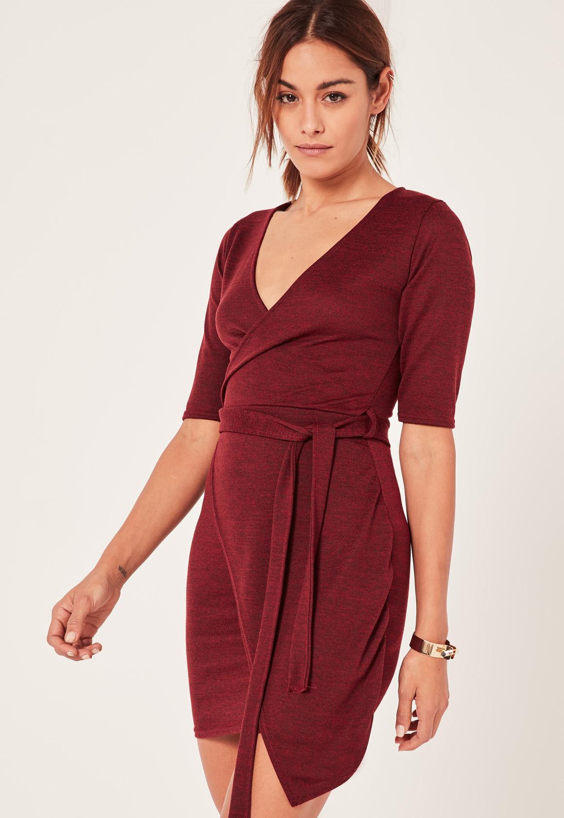 Burgundy Wrap Front Tie Waist Dress