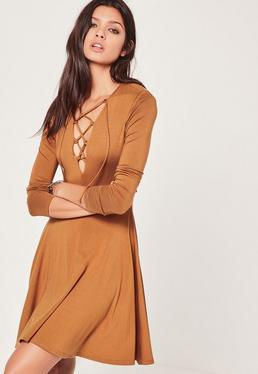 Lace up Front Long Sleeve Skater Dress Tan