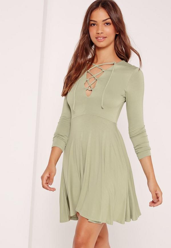 Lattice Front Long Sleeve Skater Dress Green