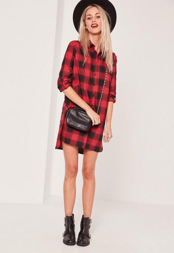 Red Twill Check Shirt Dress