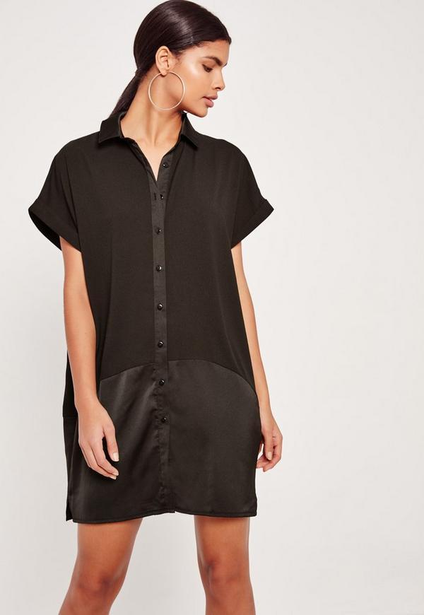 Contrast Slik Roll Back Sleeve Shirt Dress Black