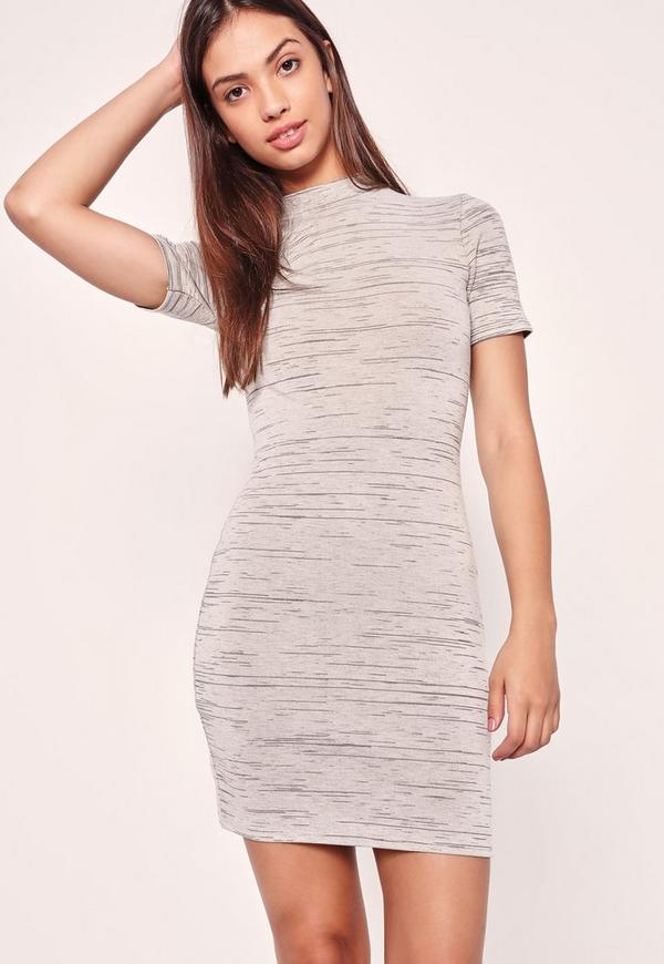 High Neck Short Sleeve Bodycon Dress Grey