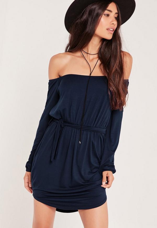 Bardot Curve Hem Dress Blue