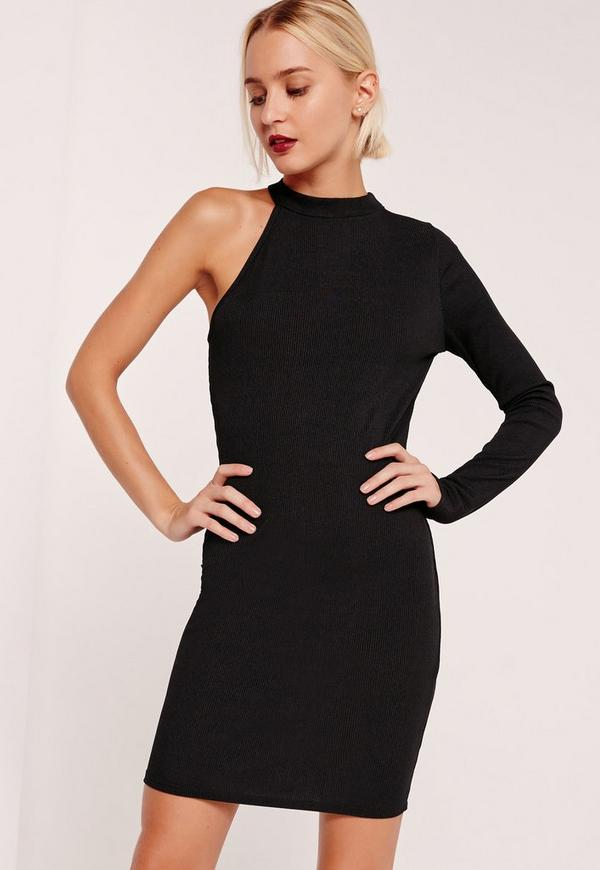 One Shoulder Ribbed Bodycon Dress Black