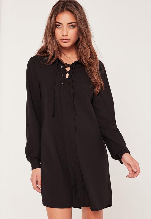 Lace Up Placket Shift Dress Black