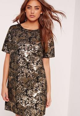 Jacquard Shift Dress Gold