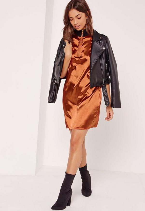 Rib Neck Satin Shift Dress Orange