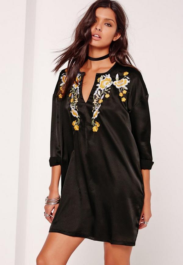 Embroidered Keyhole Shift Dress Black