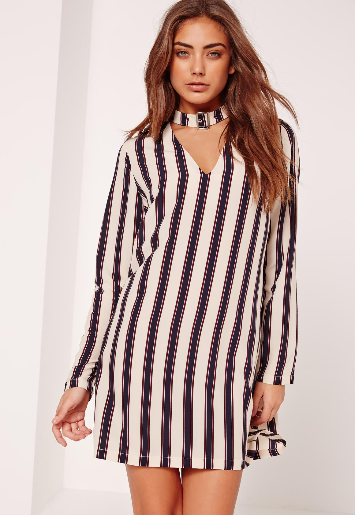 Stripe Buckle Choker Neck Shift Dress Cream