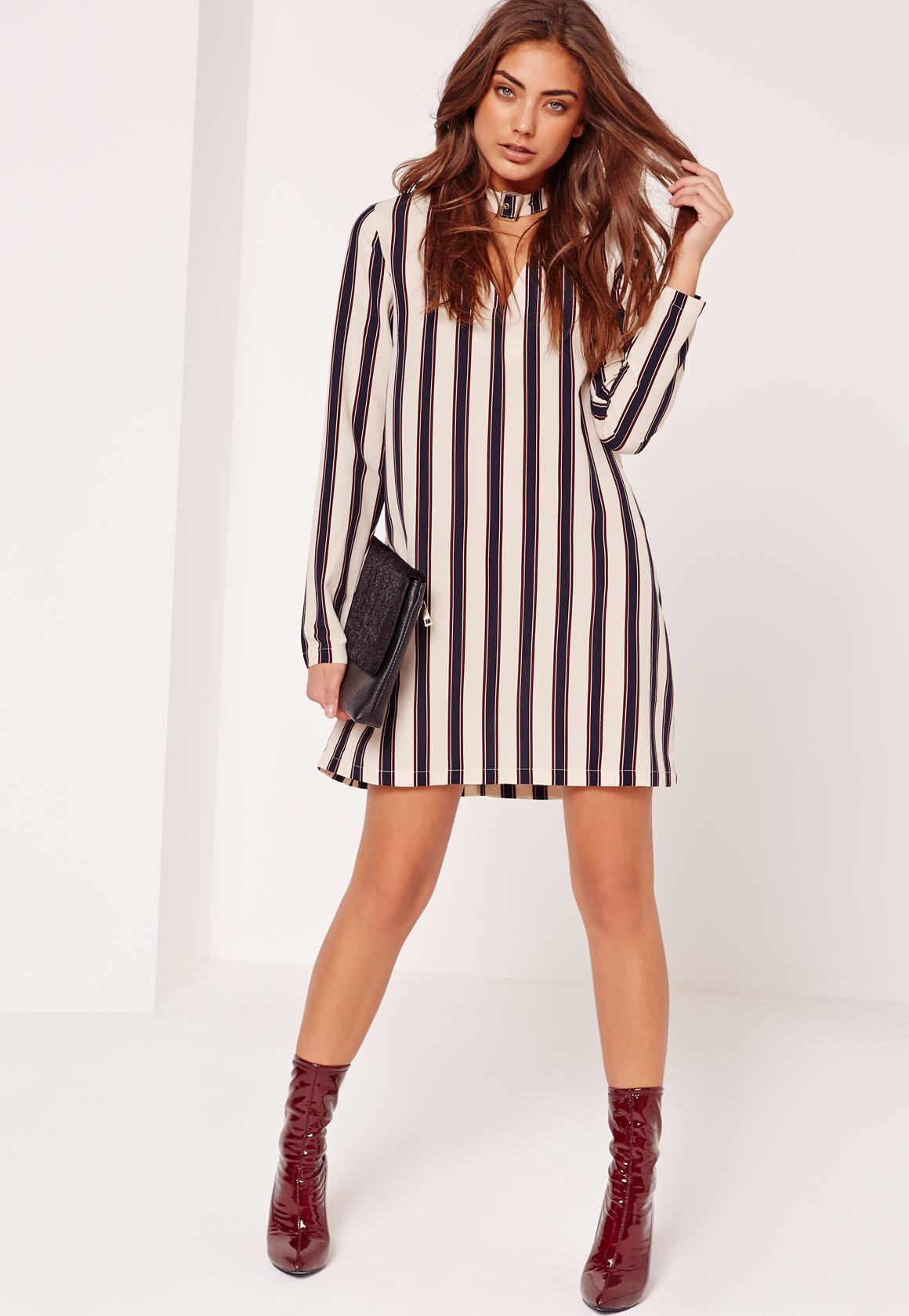 Stripe Buckle Choker Neck Shift Dress Cream