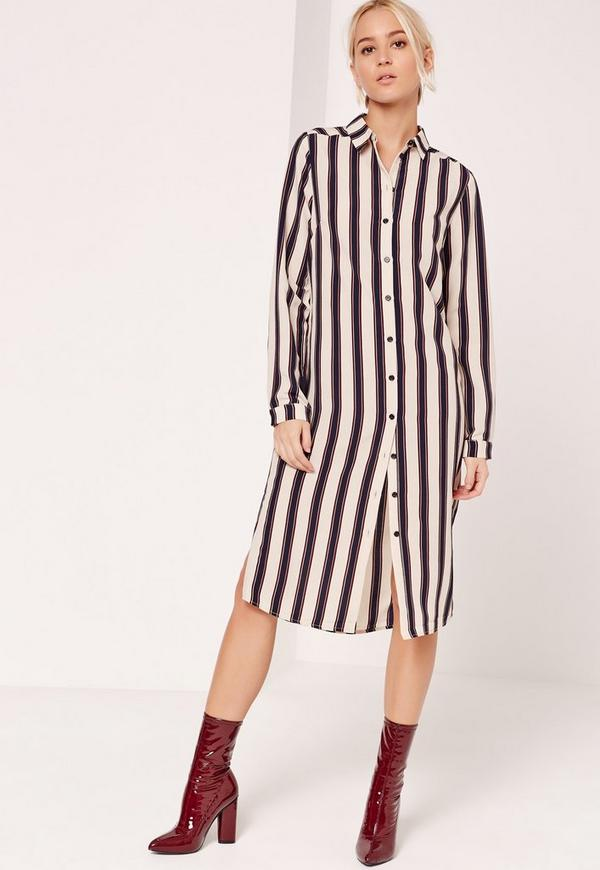 Stripe Midi Shirt Dress Nude