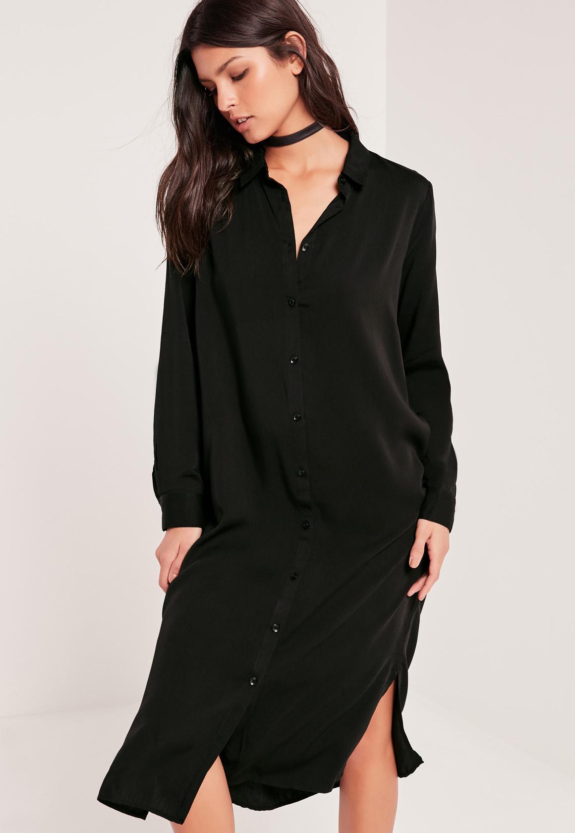 Midi Shirt Dress Black