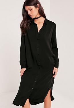 Robe-chemise noire mi-longue