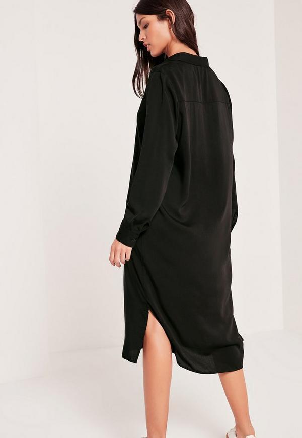 bonne vente de chaussures recherche d'officiel prix incroyables Robe chemise noire longue – Site de mode populaire