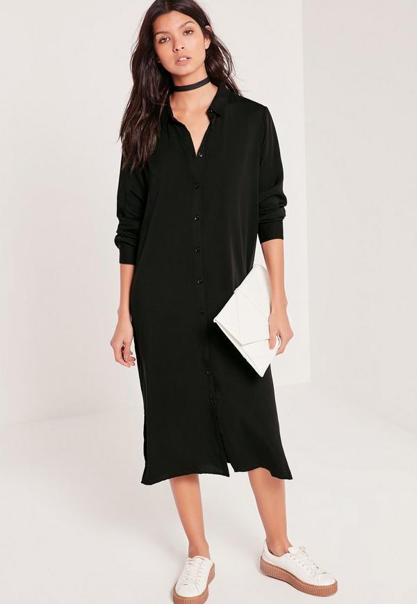 midi shirt dress black missguided