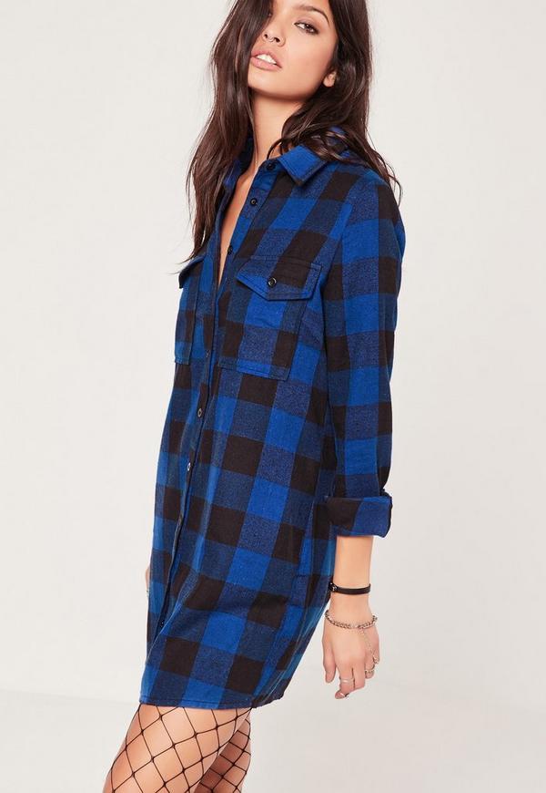 Brushed Check Mini Shirt Dress Blue Missguided