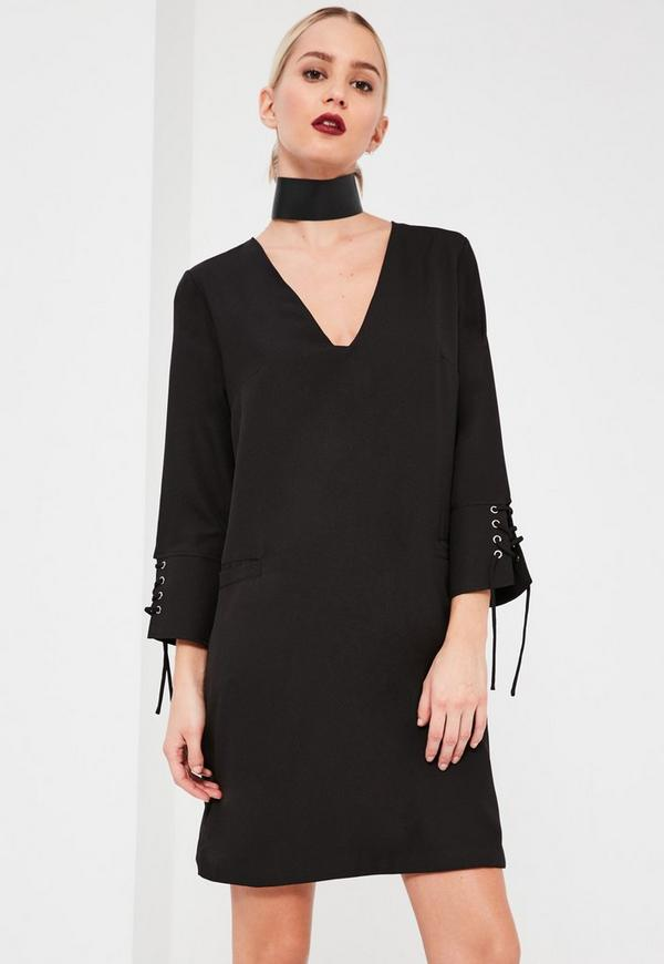 Lace Up Fitted Crepe Dress Black