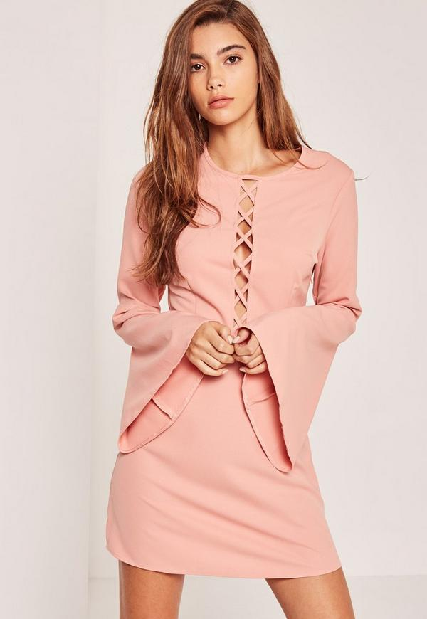 Lattice Front Flute Sleeve Skater Dress Pink