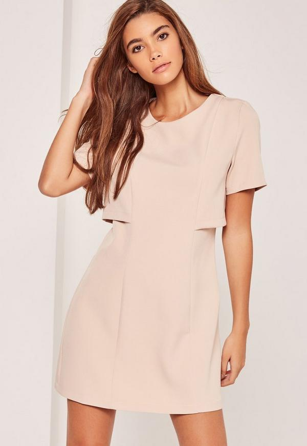 Nude Double Layer Fit & Flare Dress