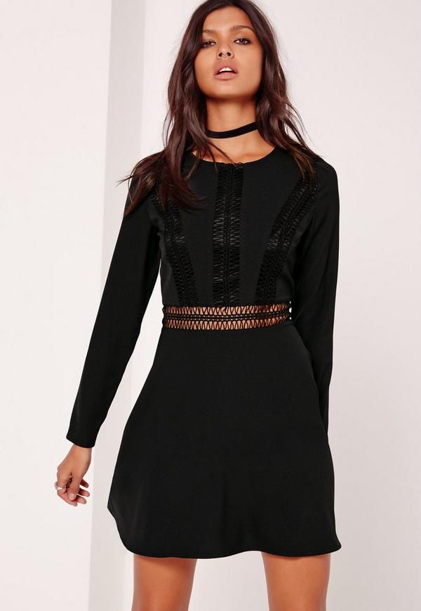 Crochet Trim Top Skater Dress Black