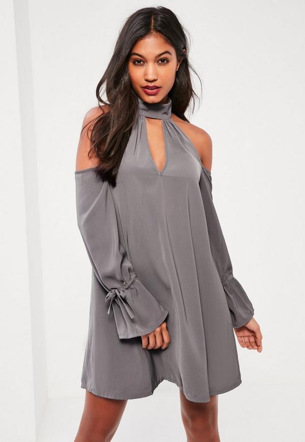 Grey Choker Neck Cold Shoulder Swing Dress