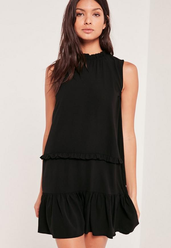 Tiered Ruffle Mini Dress Black