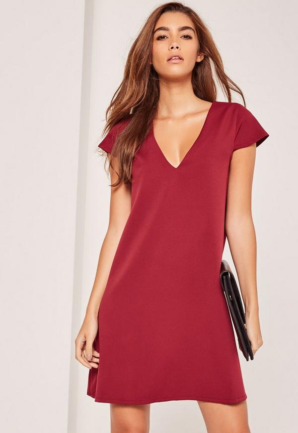 Cap Sleeve Plunge Swing Dress Red
