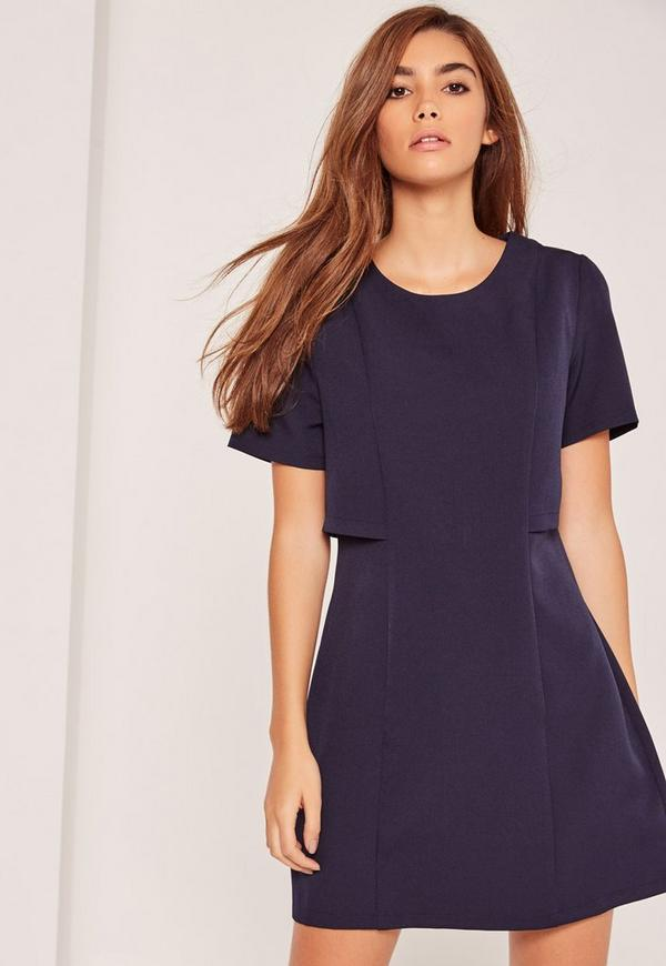 Navy Double Layer Fit & Flare Dress