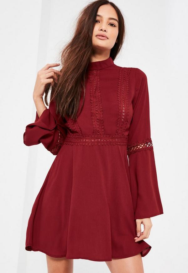 High Neck Lace Trim Skater Dress Burgundy