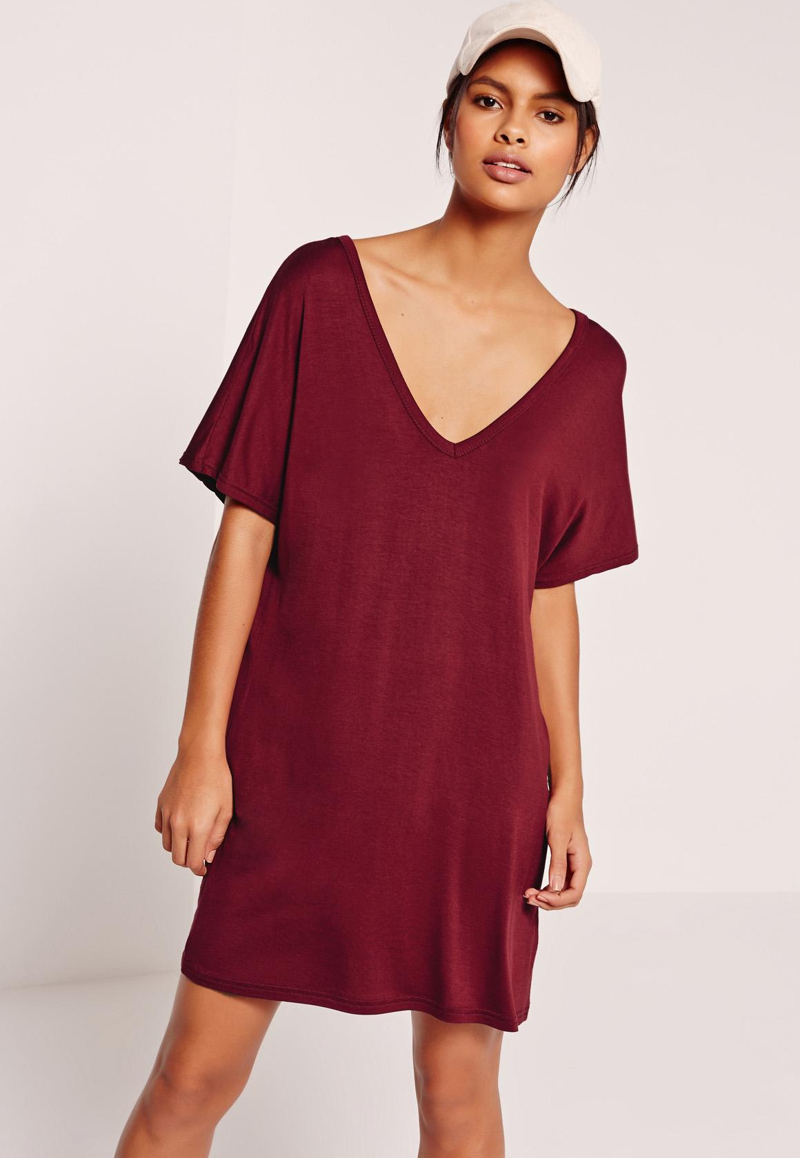 Red Wide V Neck T-Shirt Dress