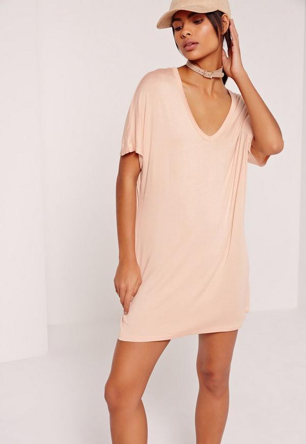 wide v neck t-shirt dress nude