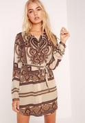 Paisley Print Shirt Dress Camel