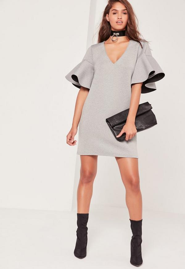 Grey Frill Sleeve Scuba Dress