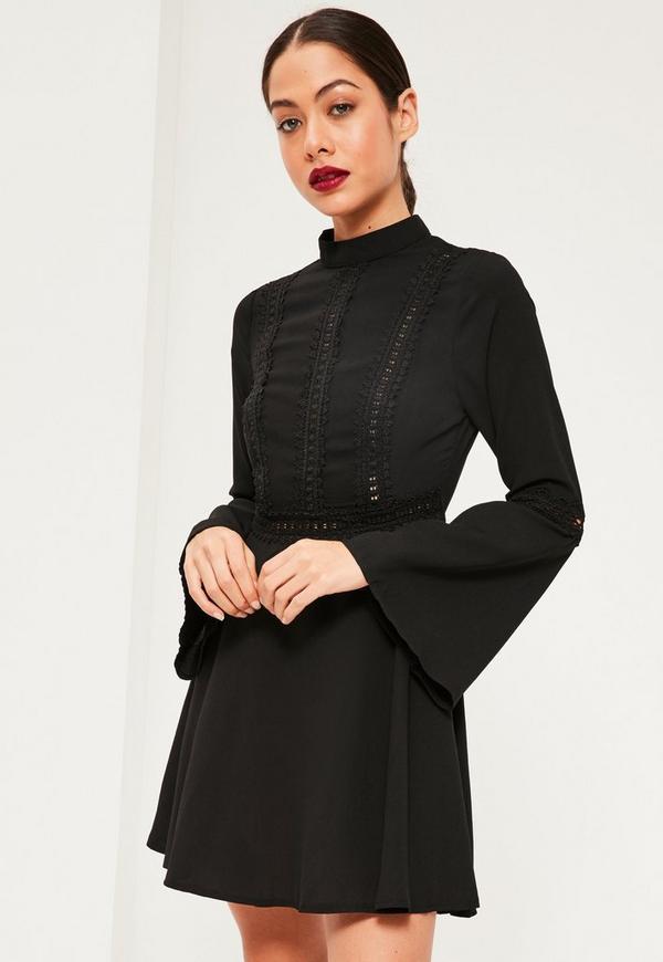 High Neck Lace Trim Skater Dress Black