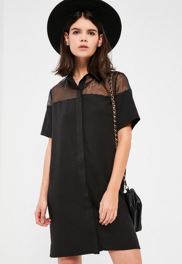 Black Organza Short Sleeve Shirt Dress