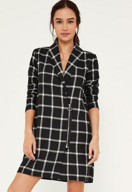 Black Check Ring Pull Zip Blazer Dress