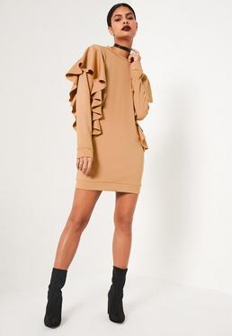 Nude Frill Sleeve High Neck Sweater Dress