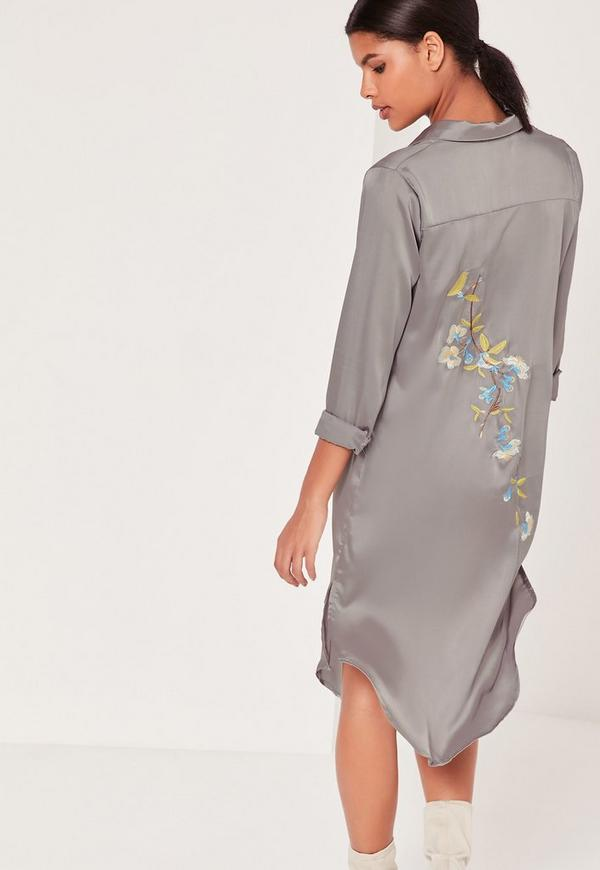 silky embroidery back shirt dress grey