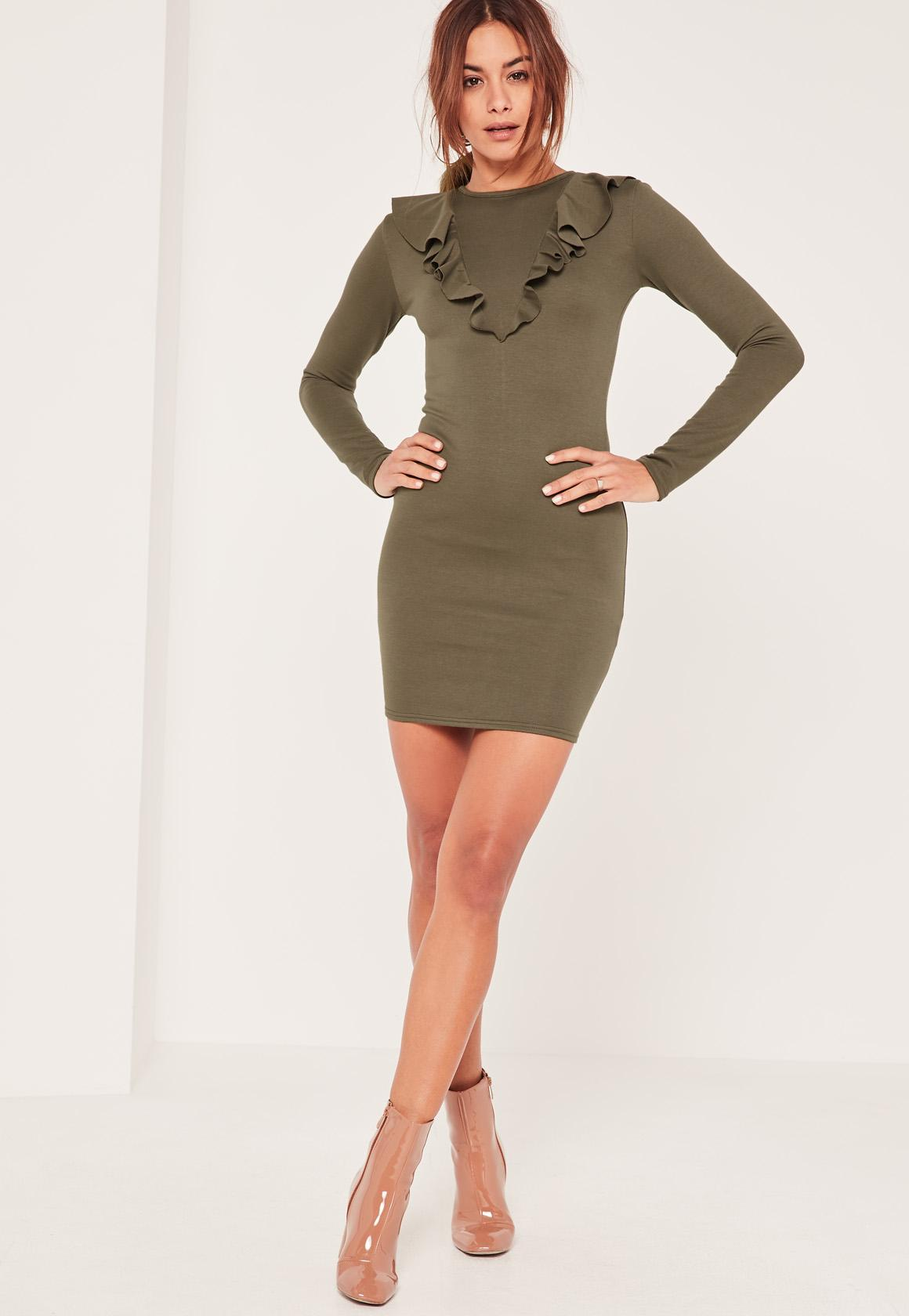 Khaki Frill Front Bodycon Dress