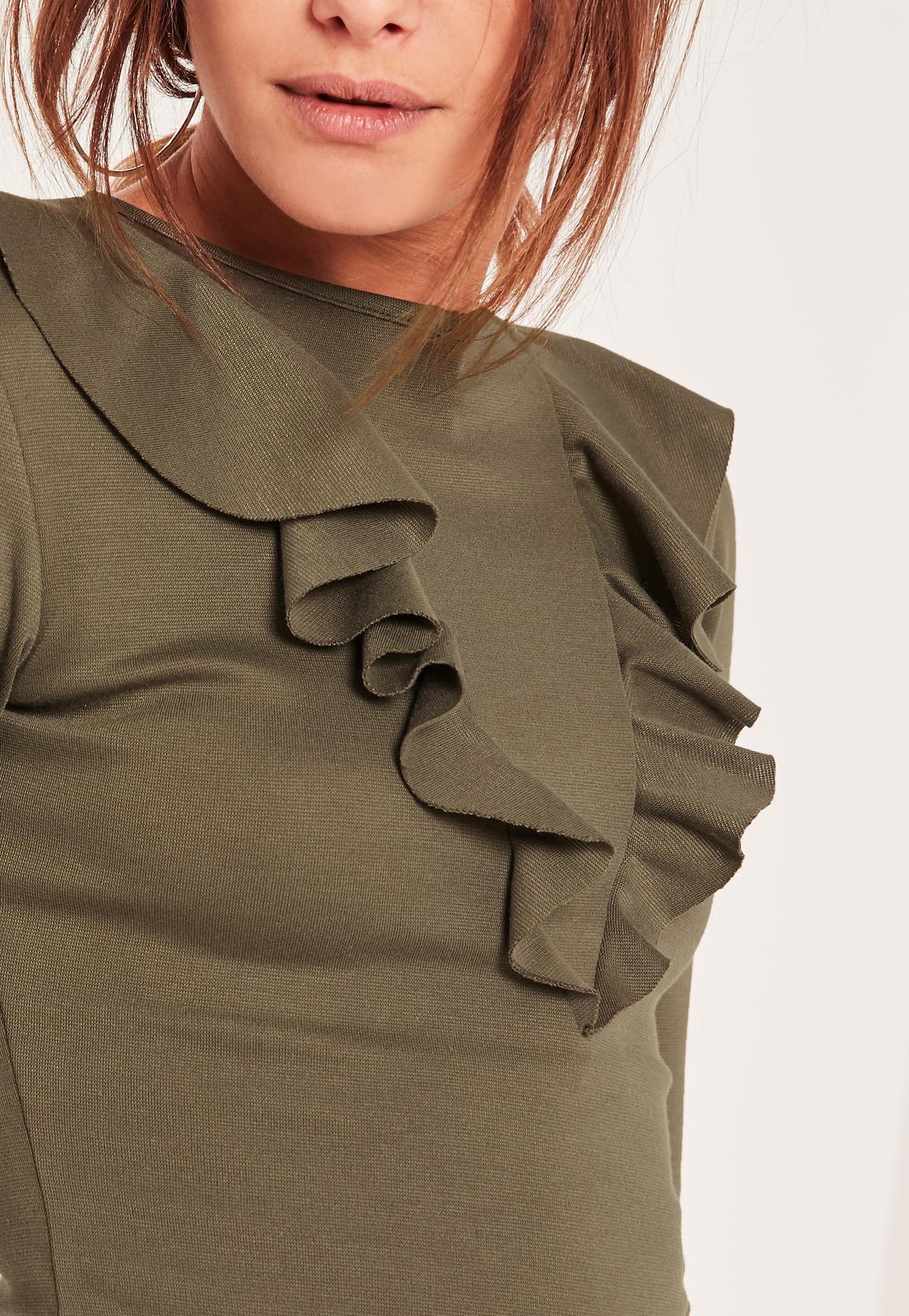Khaki Frill Front Bodycon Dress